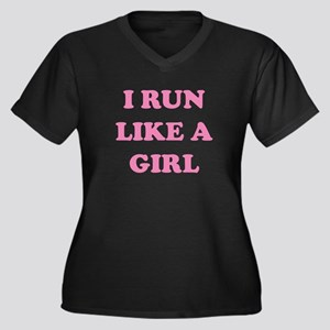 I Run Like A Girl Women's Plus Size V-Neck Dark T-