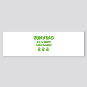 Running Pain Now Beer Later Sticker (Bumper)