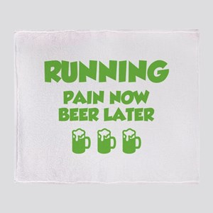 Running Pain Now Beer Later Throw Blanket