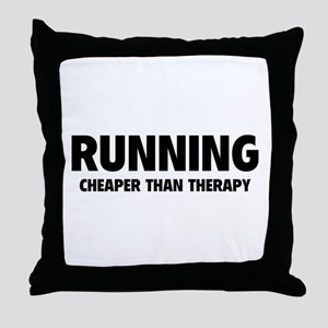 Running Cheaper Than Therapy Throw Pillow
