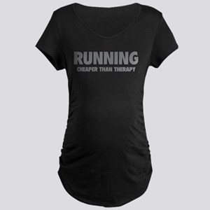Running Cheaper Than Therapy Maternity Dark T-Shir