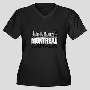Montreal Skyline Women's Plus Size V-Neck Dark T-S
