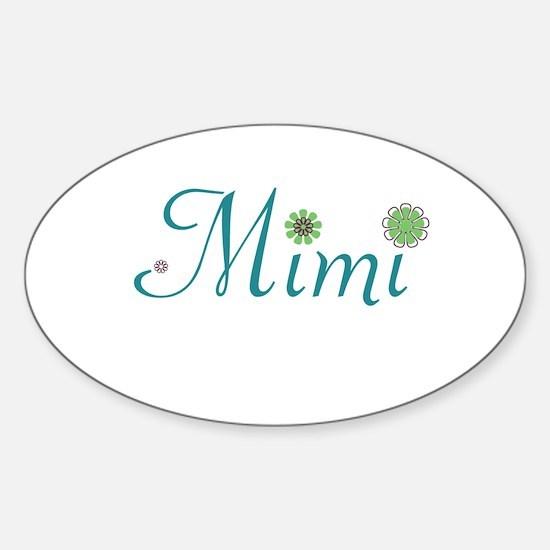 Mimi Green Flowers Sticker (Oval)