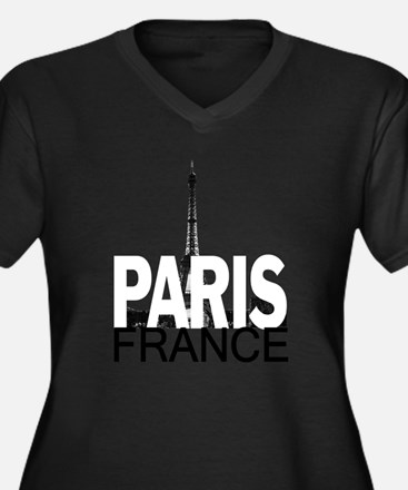 Paris Skyline Women's Plus Size V-Neck Dark T-Shir