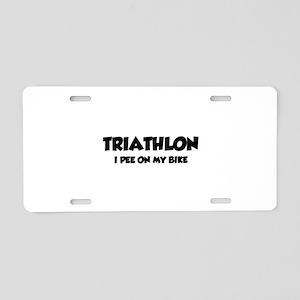 Triathlon I Pee On My Bike Aluminum License Plate