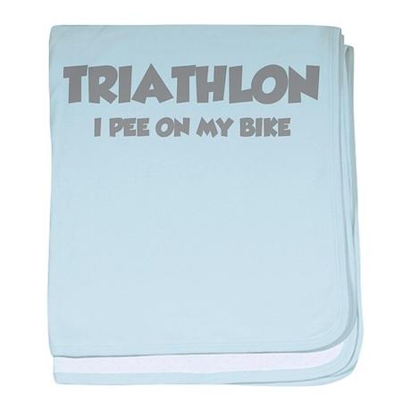 Triathlon I Pee On My Bike baby blanket