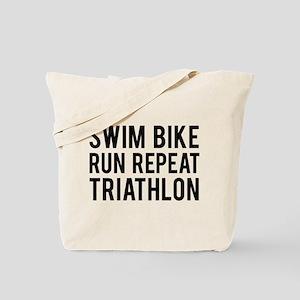 Swim Bike Run Repeat Triathlon Tote Bag