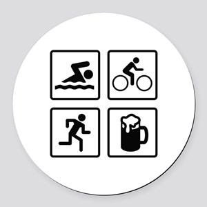 Swim Bike Run Drink Round Car Magnet