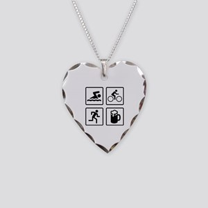 Swim Bike Run Drink Necklace Heart Charm
