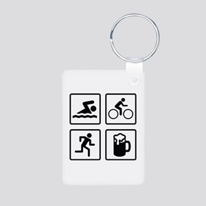 Swim Bike Run Drink Aluminum Photo Keychain
