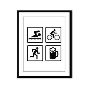 Swim Bike Run Drink Framed Panel Print