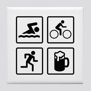 Swim Bike Run Drink Tile Coaster