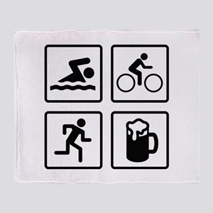 Swim Bike Run Drink Throw Blanket