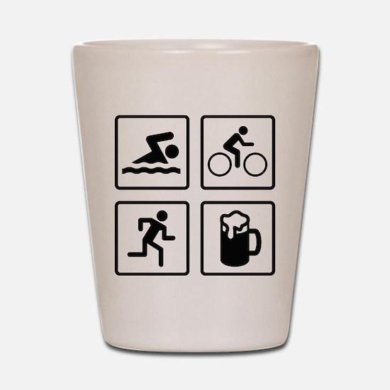 Swim Bike Run Drink Shot Glass