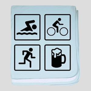 Swim Bike Run Drink baby blanket