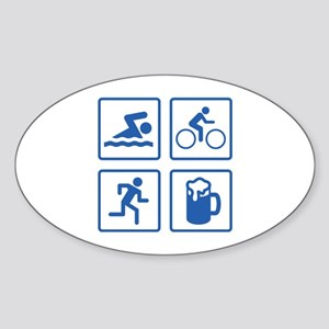 Swim Bike Run Drink Sticker (Oval)