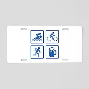 Swim Bike Run Drink Aluminum License Plate
