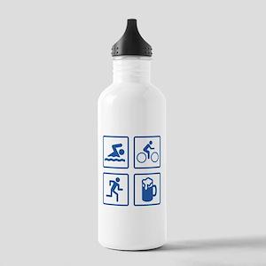 Swim Bike Run Drink Stainless Water Bottle 1.0L