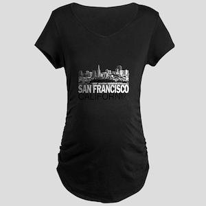 San Francisco Skyline Maternity Dark T-Shirt
