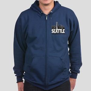 Seattle Skyline Zip Hoodie (dark)
