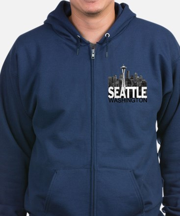 Seattle Skyline Zip Hoodie (dark)