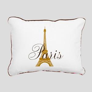 Paris Always (gold) Rectangular Canvas Pillow