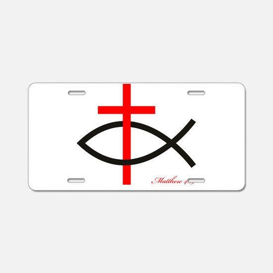 cross and fish Aluminum License Plate