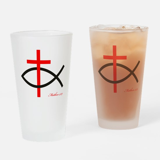 cross and fish Drinking Glass