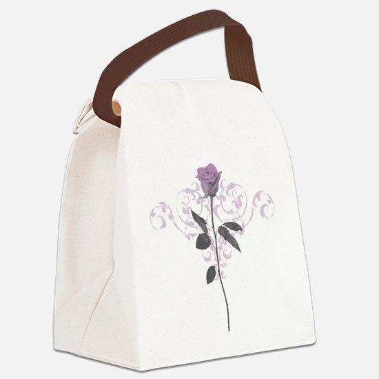 Vintage Lilac Rose Canvas Lunch Bag