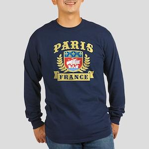 Paris France Long Sleeve Dark T-Shirt