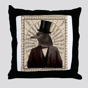 Victorian Steampunk Gentleman Crow Throw Pillow