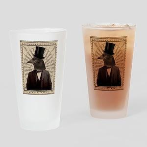 Victorian Steampunk Gentleman Crow Drinking Glass