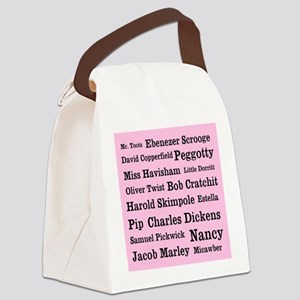Dickens Characters (Pink) Canvas Lunch Bag