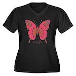 Affection Butterfly Women's Plus Size V-Neck Dark