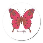 Affection Butterfly Round Car Magnet