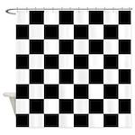 chessboardsmposterNOTEXT Shower Curtain