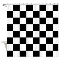 chessboardsmposterNOTEXT Shower Curtain
