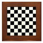 Chess Board Pattern Framed Tile