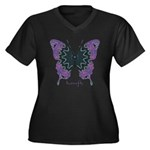 Attitude Butterfly Women's Plus Size V-Neck Dark T