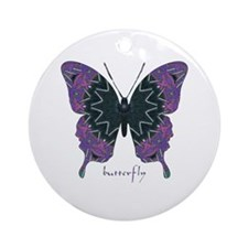 Attitude Butterfly Ornament (Round)