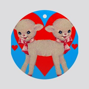 Circus Sideshow Siamese Twins Lamb With Hearts Orn