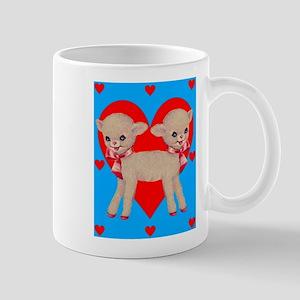 Circus Sideshow Siamese Twins Lamb With Hearts Mug