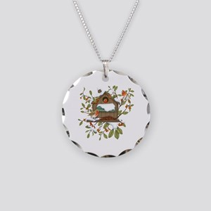 Winter Birds Necklace Circle Charm