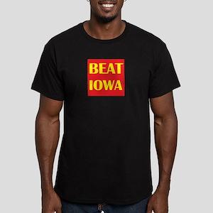 Beat Iowa (Red/Yellow) Men's Fitted T-Shirt (dark)