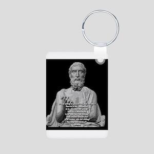 Epicurus God Quote Aluminum Photo Keychain