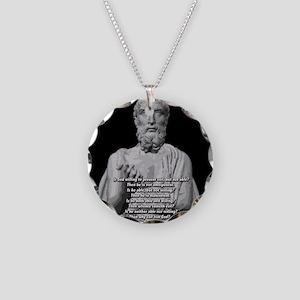 Epicurus God Quote Necklace Circle Charm