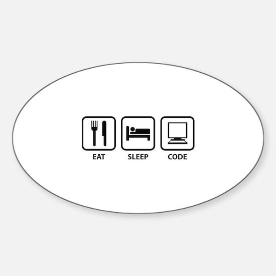 Eat Sleep Code Sticker (Oval)