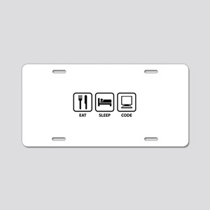 Eat Sleep Code Aluminum License Plate