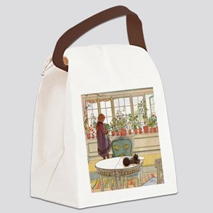 Girl at Window Canvas Lunch Bag