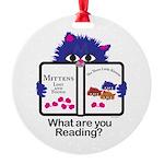Reading Kitten Round Ornament